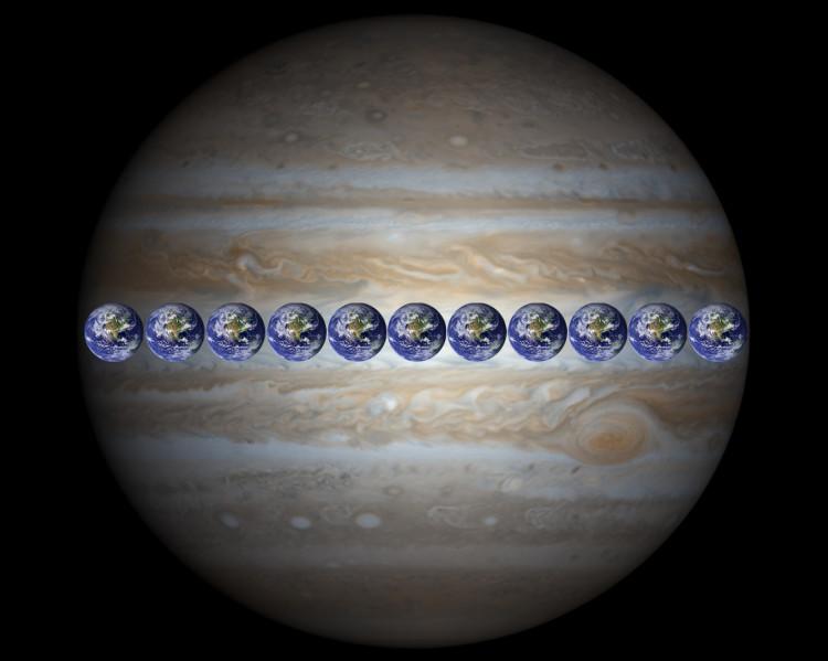 Jupiter comparée à la taille de la Terre - credit NASA/JPL