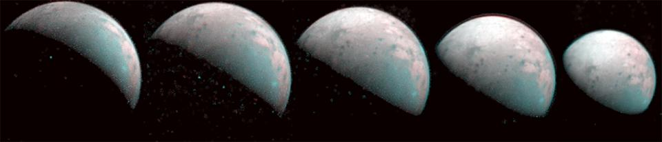 These images the JIRAM instrument aboard NASAs Juno spacecraft took on Dec 26 2019 provide the first infrared mapping of Ganymedes northern frontier Frozen water molecules detected at both poles have no appreciable order to their arrangement and a different infrared signature than ice at the equator