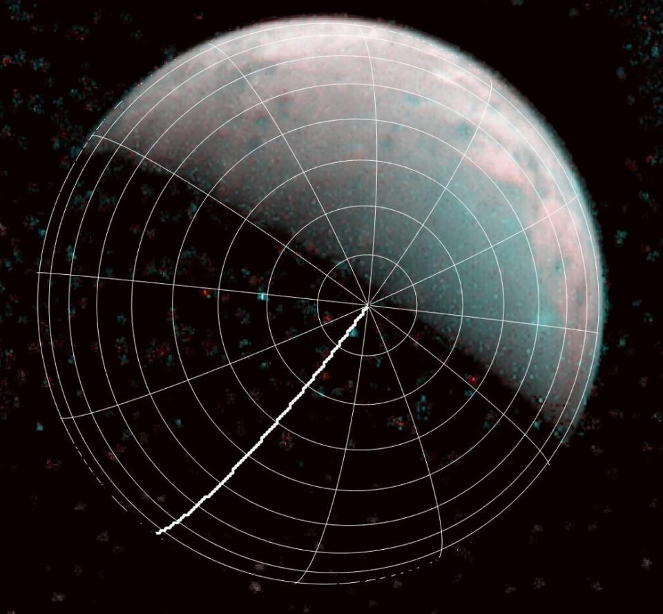 The north pole of Ganymede can be seen in center of this annotated image taken by the JIRAM infrared imager aboard NASAs Juno spacecraft on Dec 26 2019 The thick line is 0degrees longitude